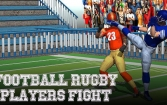 Football rugby players fight